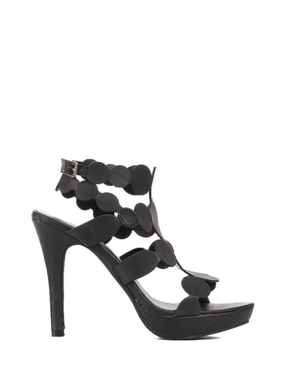 shops Circle Solid Color Sexy High Heel Sandals - BLACK 35