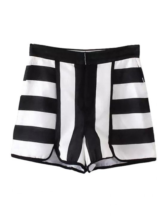 chic Black White Stripe Jag Zipper Fly Shorts - WHITE AND BLACK XS