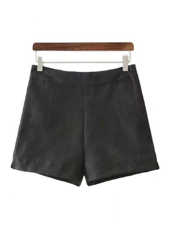 unique High Waisted Solid Color Shorts - BLACK S