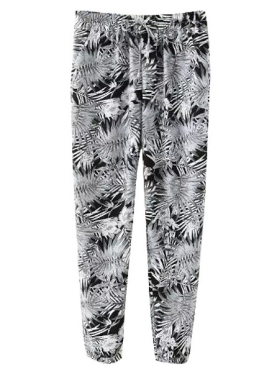 best Leaf Print Drawstring Pants - AS THE PICTURE S