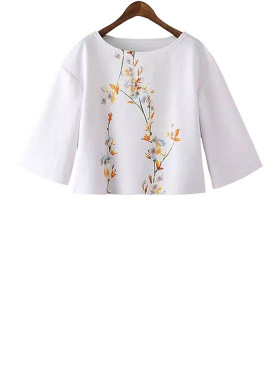 outfit Flower Print Half Sleeve T-Shirt - WHITE S