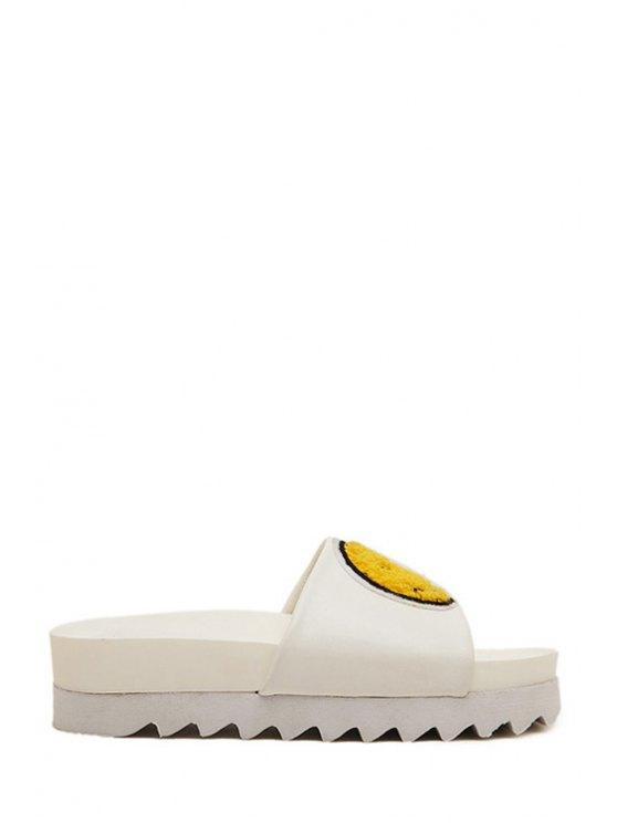 sale Smiling Face Color Block Platform Slippers - WHITE 35