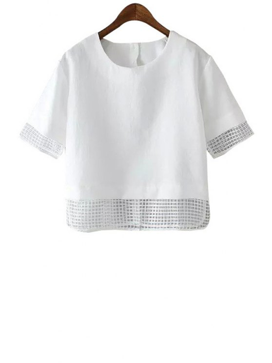 affordable Checked Spliced Short Sleeve T-Shirt - WHITE S