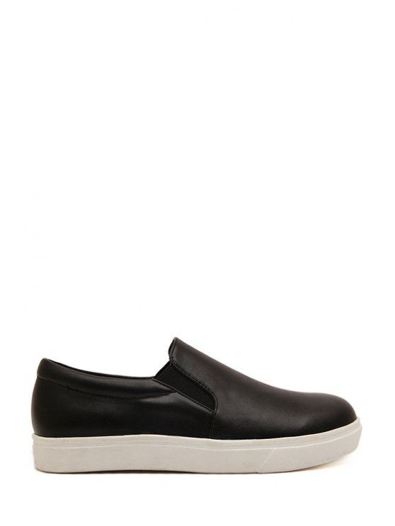 shops Black Elastic Round Toe Flat Shoes - BLACK 35