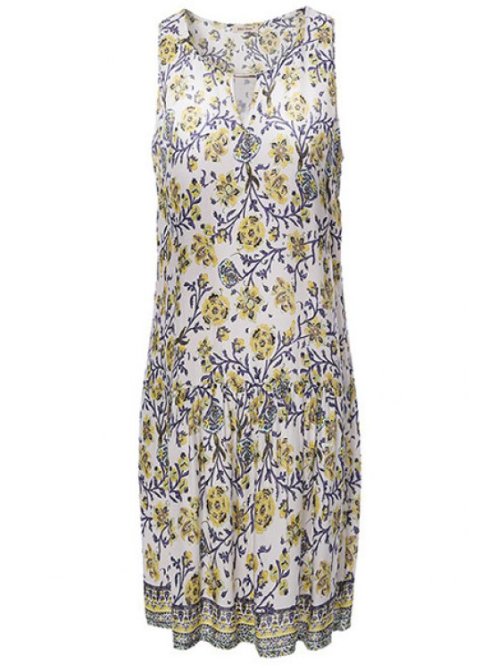 affordable Full Floral Print Drop Waist Dress - WHITE S