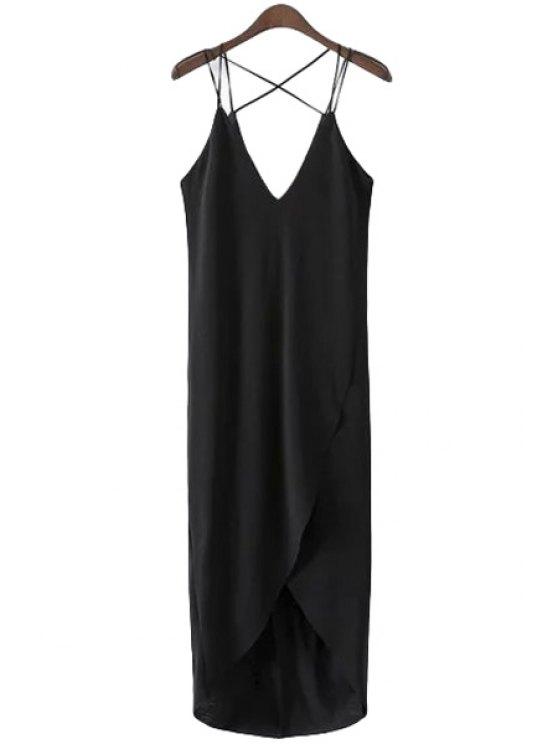 latest Black High Low Spaghetti Straps Dress - BLACK S