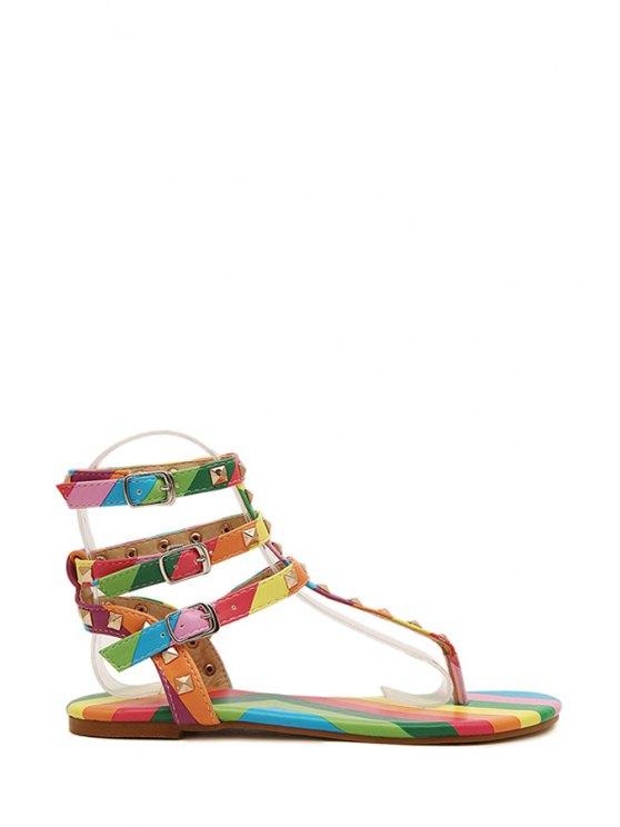 womens Rainbow Rivets Flip-Flop Color Block Sandals - COLORFUL 35