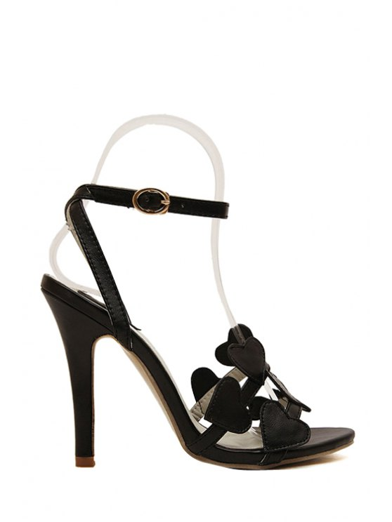buy Hearts Solid Color Stiletto Heel Sandals - BLACK 39