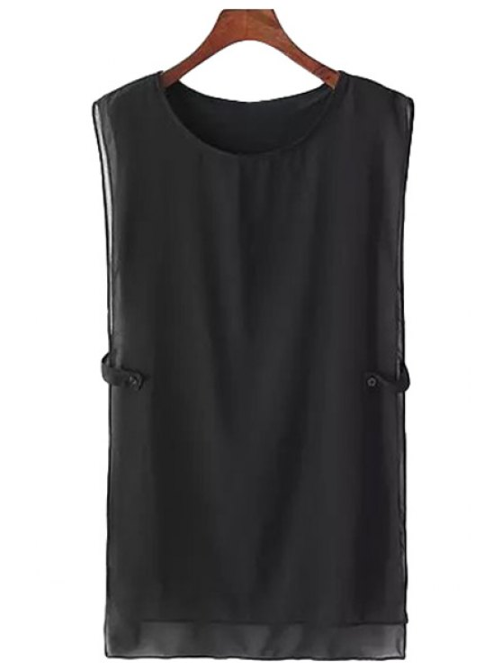 womens Solid Color Sleeveless Chiffon Dress - BLACK ONE SIZE(FIT SIZE XS TO M)