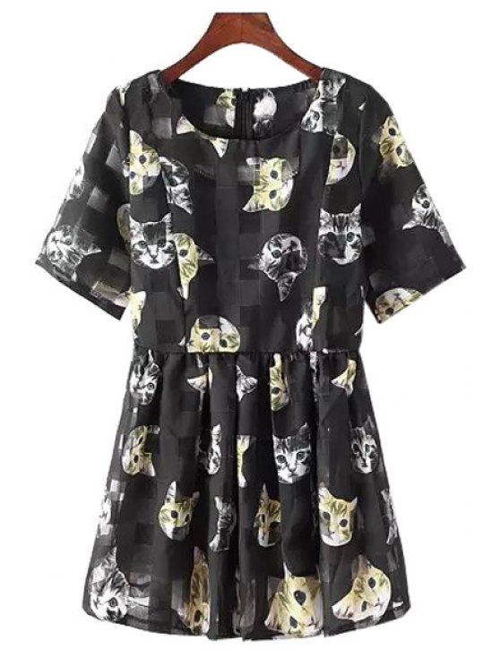 best Kitten Print Short Sleeve A Line Dress - BLACK ONE SIZE(FIT SIZE XS TO M)