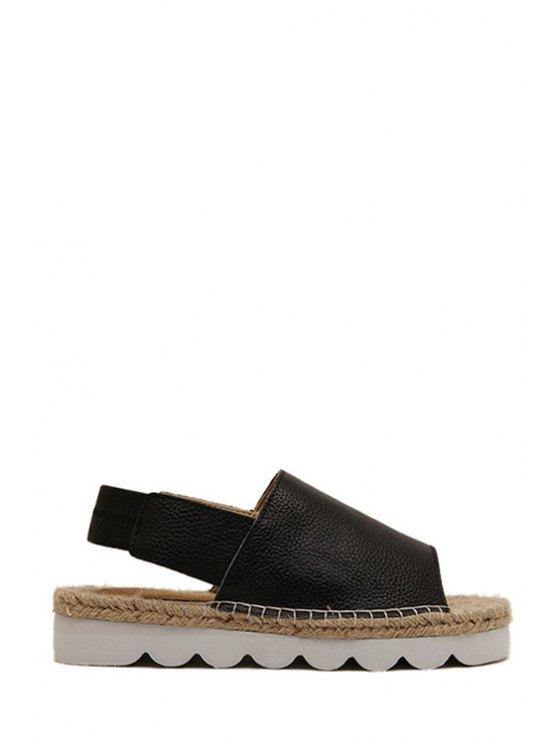 women Weaving Solid Color Elastic Sandals - BLACK 35
