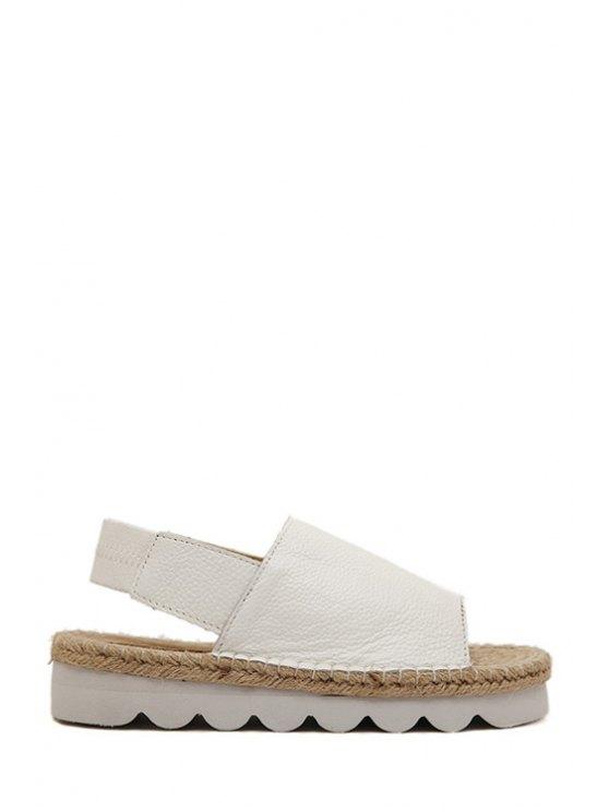best Weaving Solid Color Elastic Sandals - WHITE 39