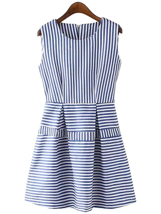 women Stripes Spliced A Line Sundress - STRIPE XS
