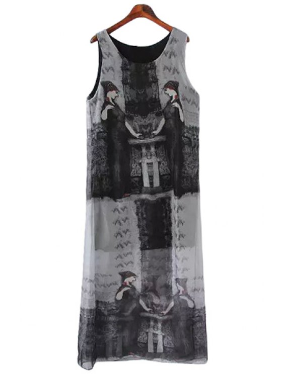 sale Figure Print Scoop Neck Sundress - GRAY ONE SIZE(FIT SIZE XS TO M)