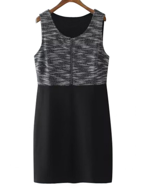women's Color Block Splicing Zipper Sleeveless Dress - BLACK XXS