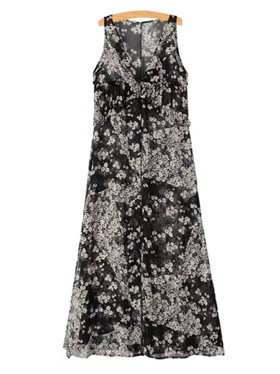 women V-Neck Tiny Floral Print Sleeveless Maxi Dress - AS THE PICTURE S