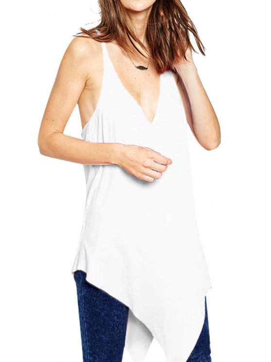 trendy Solid Color Spaghetti Straps Backless Tank Top - WHITE S