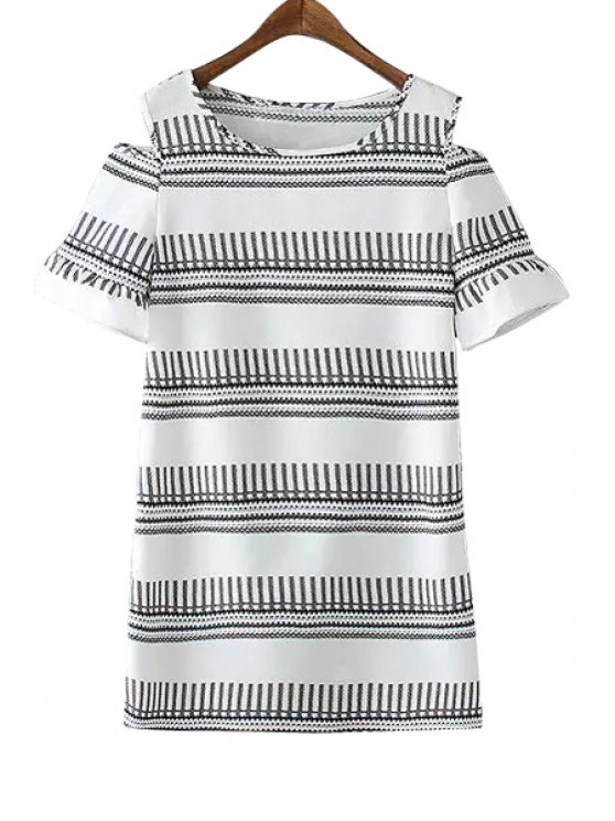 hot Stripe Color Block Openwork Short Sleeve Dress - GRAY M