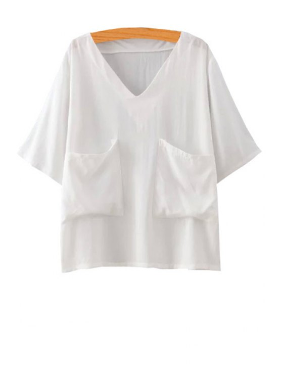 womens V-Neck Solid Color Pocket Short Sleeve T-Shirt - WHITE ONE SIZE(FIT SIZE XS TO M)