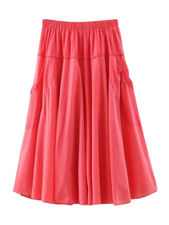 women's Solid Color Pocket Elastic Waist Long Skirt - WATERMELON RED ONE SIZE(FIT SIZE XS TO M)