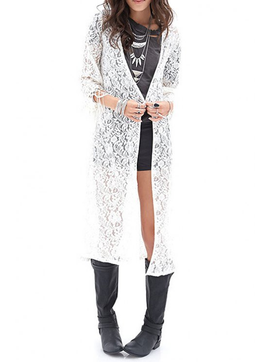 best Solid Color Lace Fringe 3/4 Sleeve Blouse - WHITE XS
