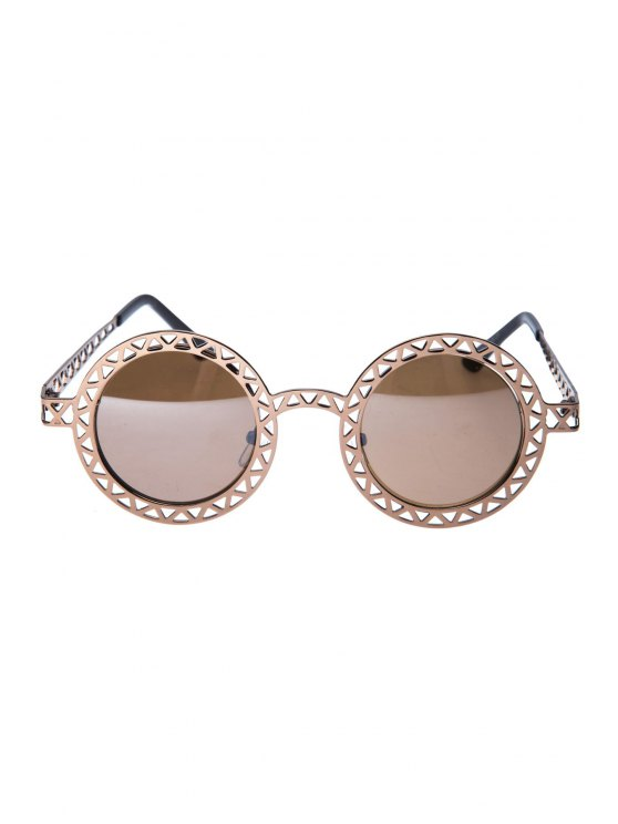 Hollow Out Zig Zag Round Sunglasses - BRONZE-COLORED  Mobile