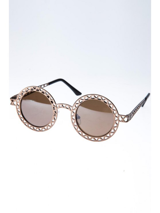 Hollow Out Zig Zag Round Sunglasses - Color bronce