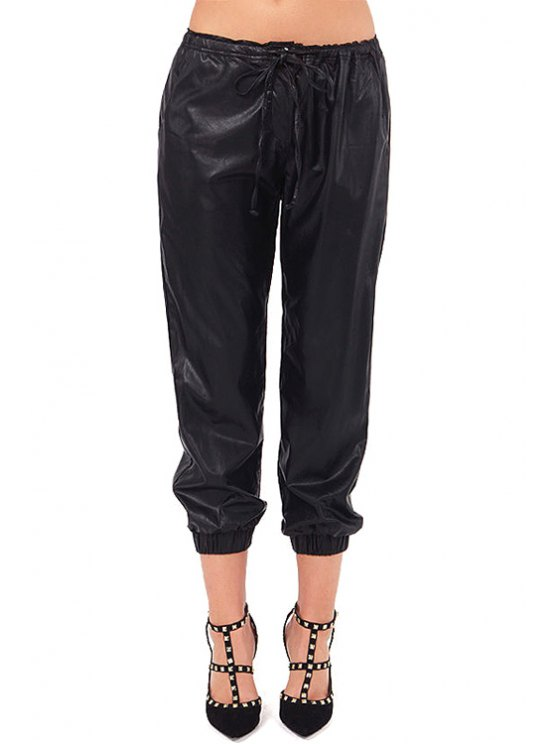 women Solid Color PU Leather Tie-Up Pants - BLACK XS