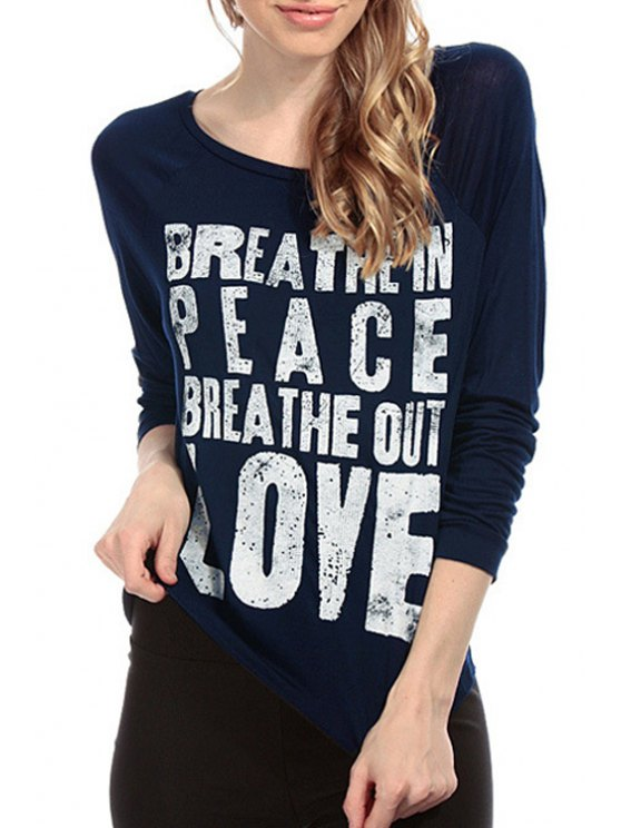 fashion Letter Print Long Sleeve T-Shirt - BLUE XS