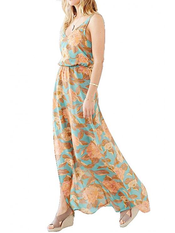 trendy Backless Floral Print Sleeveless Maxi Dress - BLUE XS
