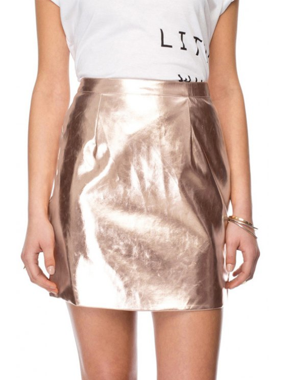 outfits Solid Color Back Zipper PU Leather Skirt - CHAMPAGNE XS