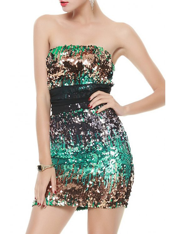 online Strapless Voile Splicing Sequins Sleeveless Dress - GREEN XS