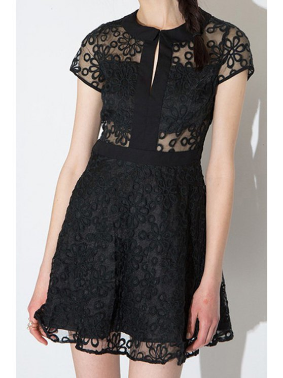 outfits Black Floral Embroidery Short Sleeve Dress - BLACK S