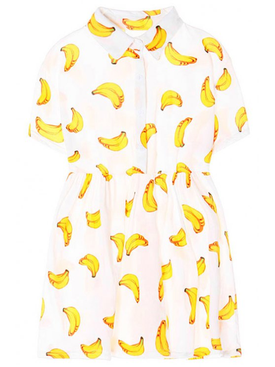 new Turn-Down Collar Banana Print Short Sleeve Dress - WHITE ONE SIZE(FIT SIZE XS TO M)