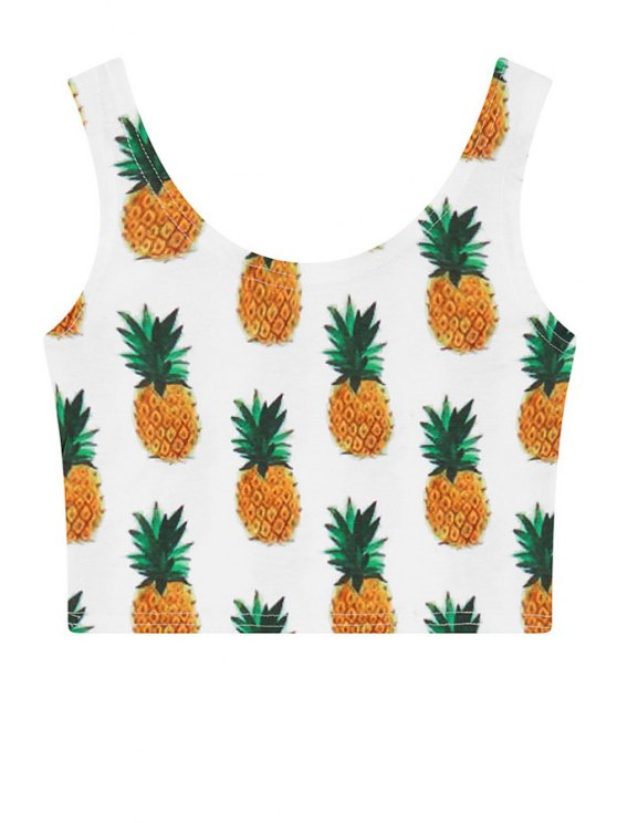 fashion Scoop Neck Pineapple Print Crop Top - WHITE ONE SIZE(FIT SIZE XS TO M)