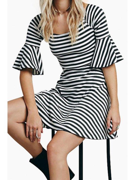 women Striped Flare Sleeve A Line Dress - STRIPE S