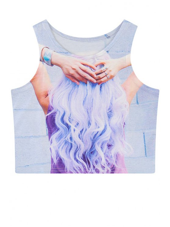 buy Jewel Neck Figure Print Crop Top - LIGHT BLUE ONE SIZE(FIT SIZE XS TO M)
