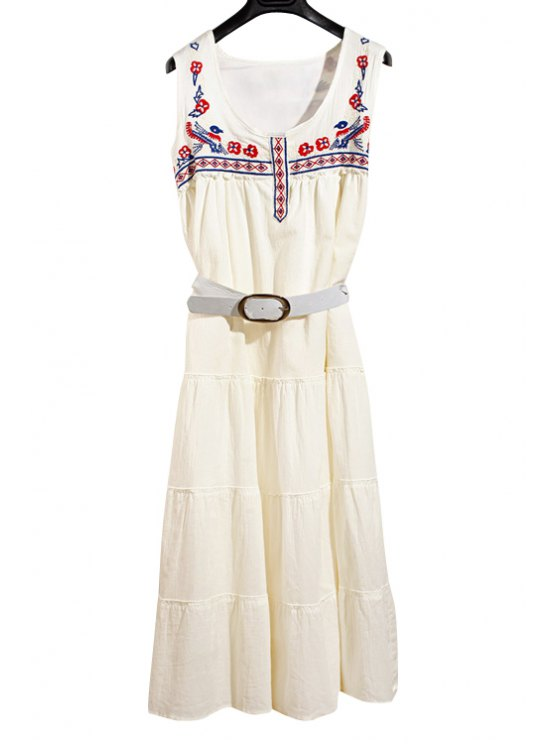 new Scoop Collar Floral Embroidery Midi Dress with Belt - WHITE S