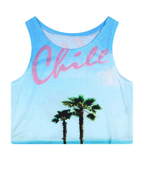 women's Jewel Neck Coconut Tree Print Crop Top - BLUE ONE SIZE(FIT SIZE XS TO M)