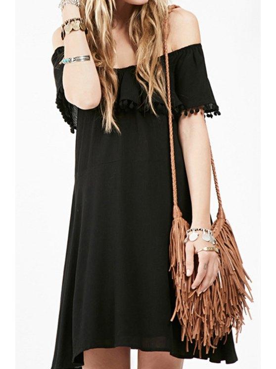 affordable Black Slash Neck Short Sleeve Dress - BLACK S
