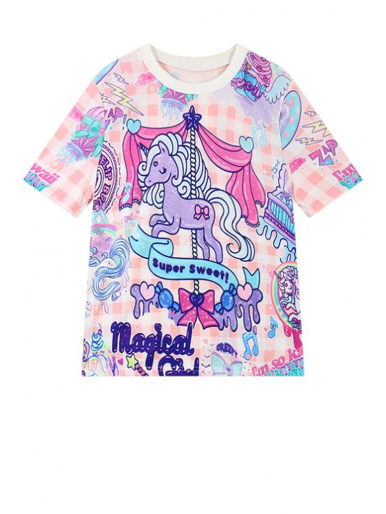 online Colorful Cartoon Horse Print Short Sleeve T-Shirt - PINK ONE SIZE(FIT SIZE XS TO M)