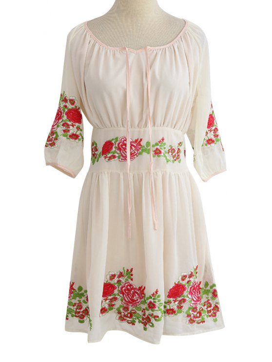 shop Scoop Neck Floral Embroidery Lace-Up Chiffon Dress - WHITE S