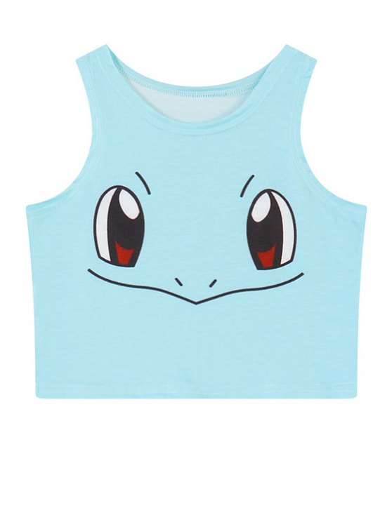 hot Jewel Neck Cartoon Eyes Print Crop Top - BLUE ONE SIZE(FIT SIZE XS TO M)