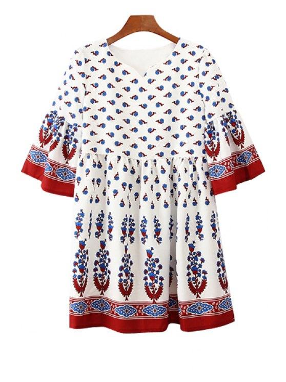 lady Sweet Style V-Neck Flare Sleeve Printed Bohemian Women's Mini Dress - WHITE XL