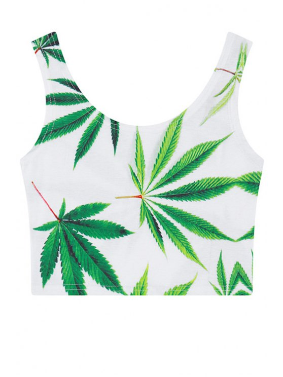 outfits Scoop Neck Green Leaves Print Crop Top - WHITE ONE SIZE(FIT SIZE XS TO M)