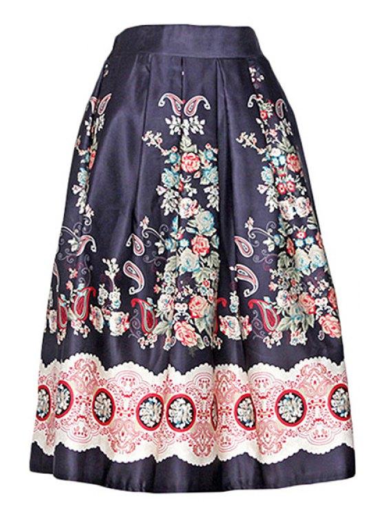 women's Vintage Print A Line Midi Skirt - BLACK ONE SIZE(FIT SIZE XS TO M)