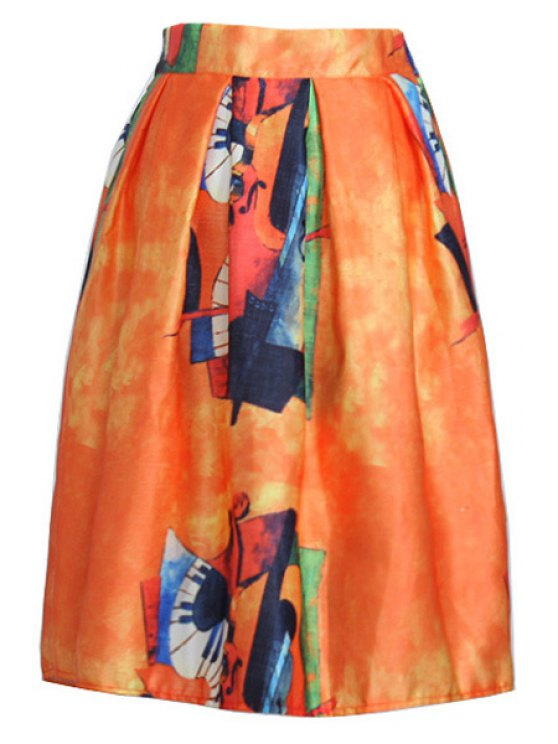 sale Abstract Print A Line Midi Skirt - ORANGE ONE SIZE(FIT SIZE XS TO M)