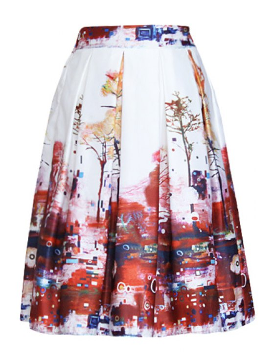 buy Tree Print A Line Midi Skirt - WHITE ONE SIZE(FIT SIZE XS TO M)