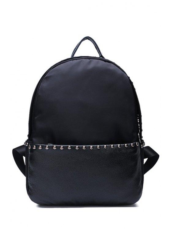 trendy Rivets Black Zipper Solid Color Satchel - BLACK