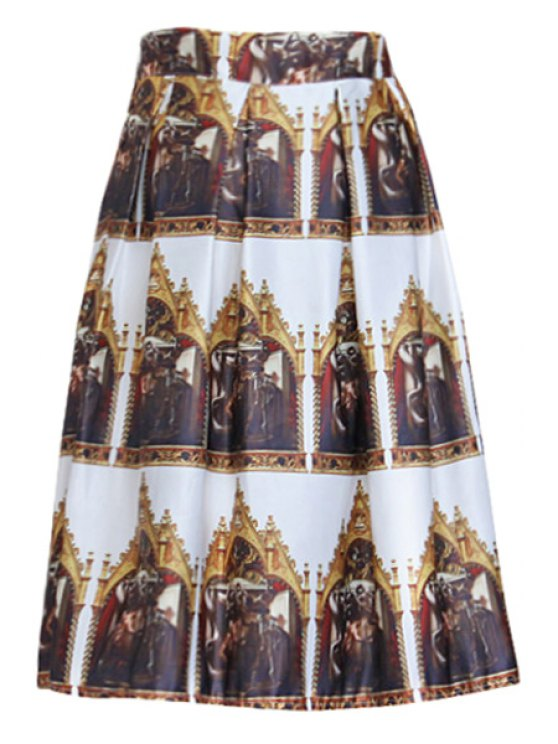 lady Figure Print A Line Midi Skirt - FLAX ONE SIZE(FIT SIZE XS TO M)